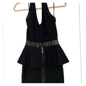 Bebe halter dress with peplum and zipper detail